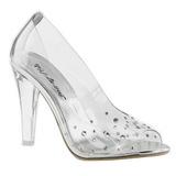 Transparent Strass 10,5 cm CLEARLY-420 Hohe Pumps Abend Schuhe mit Absatz