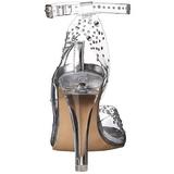 Transparent Strass 11,5 cm CLEARLY-430RS Abend Sandaletten mit Absatz
