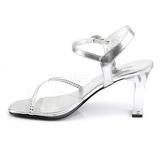 Transparent Strass 8,5 cm ROMANCE-308R Abend Sandaletten mit Absatz