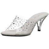 Transparent Strass 8 cm BELLE-301RS Mules Damen Schuhe für Herren