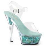 Türkis 15 cm KISS-208GF glitter plateau sandaletten