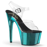 Türkis 18 cm ADORE-708 Chrome Plateau High Heels