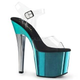Türkis 18 cm RADIANT-708TTCH Chrome Plateau High Heels