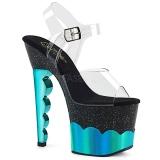 Türkis 18 cm SCALLOP-708-2HGM Hologramm plateau high heels