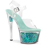 Türkis 18 cm SKY-308GF glitter plateau sandaletten