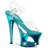Türkis Transparent 18 cm MOON-708DMCH Plateau High Heels