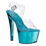 Türkis Transparent 18 cm SKY-308 Plateau High Heels