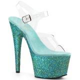 Türkis glitter 18 cm Pleaser ADORE-708LG pole dance high heels schuhe