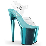 Türkis 20 cm FLAMINGO-808 Chrome Plateau High Heels