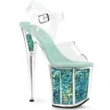 Türkis 20 cm FLAMINGO-808GF glitter plateau high heels
