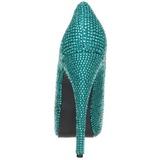 Türkis Strass 14,5 cm Burlesque TEEZE-06R Plateau Damen Pumps Schuhe