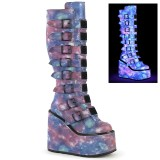 Vegan 14 cm SWING-815 buckle boots - alternative boots platform neon