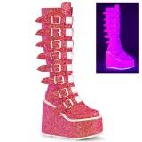 Vegan 14 cm SWING-815UV buckle boots - alternative boots platform neon