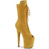 Vegan 20 cm FLAMINGO-1051FS Exotic platform peep toe boots yellow