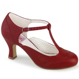 Vegan 7,5 cm FLAPPER-26 t-strap pumps retro vintage red