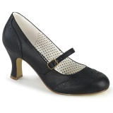 Vegan 7,5 cm FLAPPER-32 maryjane pumps retro vintage black