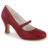Vegan 7,5 cm FLAPPER-32 maryjane pumps retro vintage rot