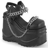 Vegan Schwarz 15 cm Demonia WAVE-20 lolita plateau wedge sandaletten