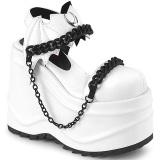 Vegan Weiss 15 cm Demonia WAVE-20 lolita plateau wedge sandaletten