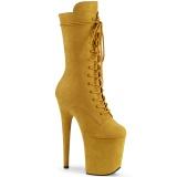 Vegan suede 20 cm FLAMINGO-1050FS exotic pole dance stiefel in gelb