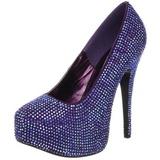 Violett Strass 14,5 cm TEEZE-06R Plateau Damen Pumps Schuhe