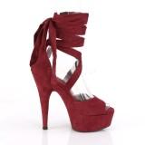 Weinrot Kunstleder 15 cm DELIGHT-679 high heels mit knöchelschnürung
