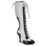 Weiss 11,5 cm TEMPT-126 Damen Schnürstiefel High Heels