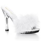 Weiss 12,5 cm GLITZY-501-8 Mules Schuhe mit Marabou Federn - Plüsch