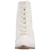 Weiss 12 cm VICTORIAN-30 Damen Stiefeletten mit Schnürsenkel