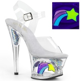 Weiss 18 cm MOON-708RSS Neon plateau high heels