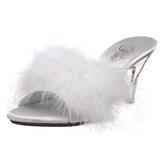 Weiss 8 cm BELLE-301F Mules Schuhe mit Marabou Federn - Plüsch