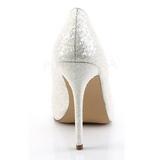 Weiss Glitter 13 cm AMUSE-20G Hohe Pumps Abend Schuhe mit Absatz