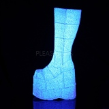 Weiss Glitter 18 cm STACK-301G demonia stiefel - unisex cyberpunk stiefel