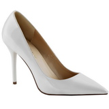 Weiss Lack 10 cm CLASSIQUE-20 Damen Pumps Stiletto Absatz