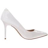 Weiss Lack 10 cm CLASSIQUE-20 High Heels Pumps für Männer