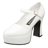 Weiss Lack 11 cm MARYJANE-50 Mary Jane Plateau Pumps