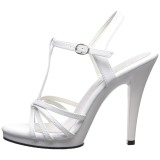 Weiss Lack 12 cm FLAIR-420 High Heel Sandaletten Damen