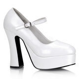 Weiss Lack 13 cm DOLLY-50 Mary Jane Plateau Pumps