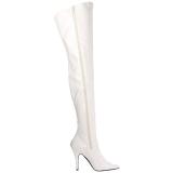 Weiss Lack 13 cm SEDUCE-3000 Overknee Stiefel für Männer