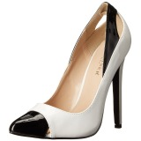 Weiss Lack 13 cm SEXY-22 Klassische Pumps Schuhe Damen