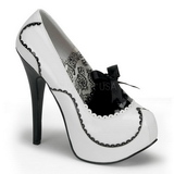 Weiss Lack 14,5 cm Burlesque BORDELLO TEEZE-01 Plateau Pumps