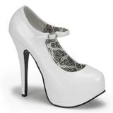 Weiss Lack 14,5 cm Burlesque BORDELLO TEEZE-07 Plateau Pumps