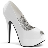 Weiss Lack 14,5 cm TEEZE-22 Damen Pumps Stiletto Absatz