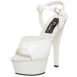 Weiss Lack 15 cm KISS-209 Plateau High Heel Schuhe