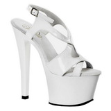 Weiss Lack 18 cm Pleaser SKY-330 Plateau High Heels