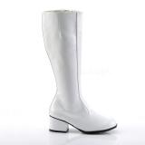 Weiss Lack 5 cm GOGO High Heels Damenstiefel für Männer