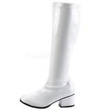 Weiss Lack 5 cm RETRO-300 Hochhackige Damen Stiefel