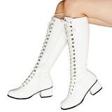 Weiss Lack 5 cm RETRO-302 Damen Schnürstiefel High Heels
