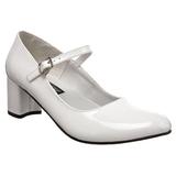 Weiss Lack 5 cm SCHOOLGIRL-50 Klassische Pumps Schuhe Damen