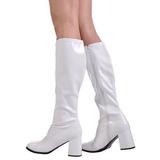 Weiss Lack 8,5 cm GOGO-300 High Heels Damenstiefel für Männer